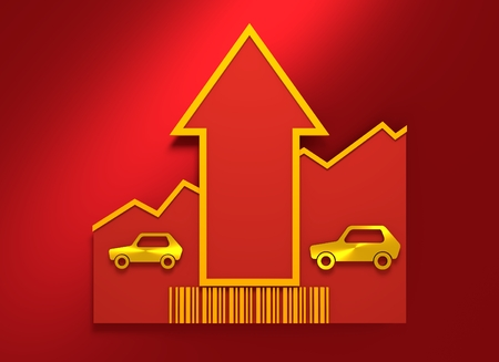 petroluem: Car i icon and rise up arrow. Growth diagram and bar code. 3D rendering