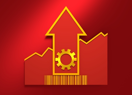 3d rendering wheel: Cog wheel icon and rise up arrow. Growth diagram and bar code. 3D rendering