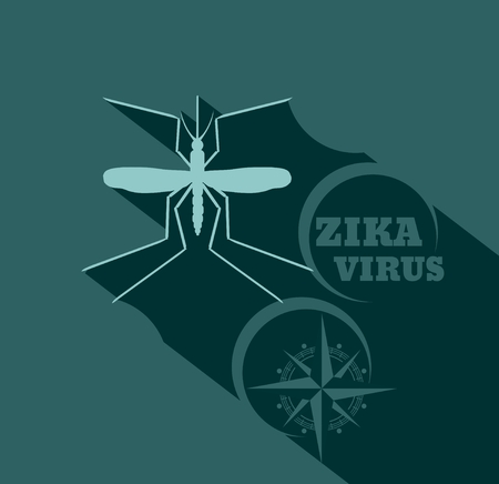 infect: Virus diseases transmitter. Mosquito silhouette. Zika virus text and ancient compass arrows. Flat style vector illustration Illustration
