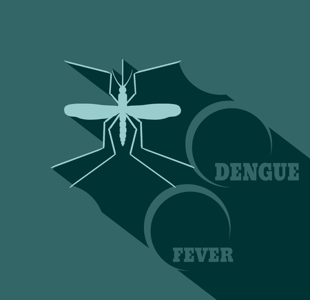infect: Virus diseases transmitter. Mosquito silhouette. Dengue fever text. Flat style vector illustration Illustration