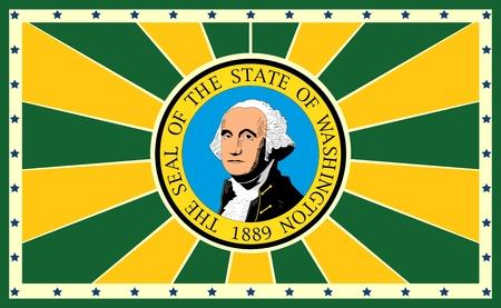 washington state: Image relative to USA travel. Washington state sun burst vintage banner