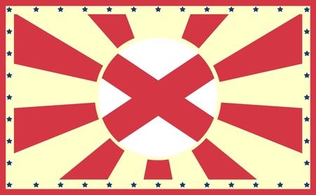 alabama state: Image relative to USA travel. Alabama state sun burst vintage banner