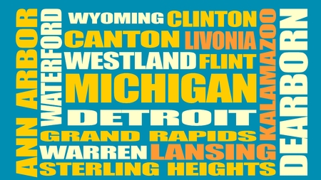 Image relative to USA travel. Michigan cities and places names cloud Illustration