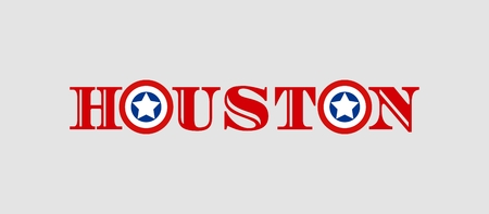 houston flag: Image relative to USA travel. Houston city name with flag colors styled letter O