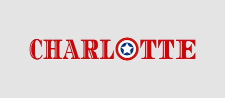 charlotte: Image relative to USA travel. Charlotte city name with flag colors styled letter O Illustration