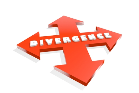 divergence: Arrow cross with divergence word. Way choosing metaphor. 3D rendering