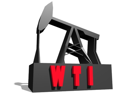 crude: Oil pump and WTI crude oil name. Energy and power relative backdrop. 3D rendering