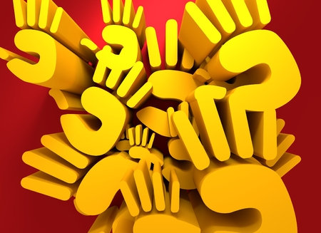 hi five: hand silhouette. 3D rendering. Yellow on red
