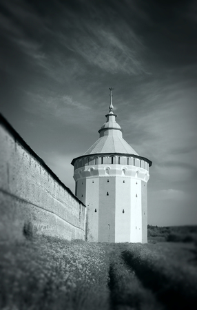 watch city: Watch tower of Spaso-Prilutsky Monastery in the Vologda city, Russia. Black and white image