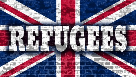 illegal immigrant: Refugees text on old brick wall textured backdrop. Britain flag