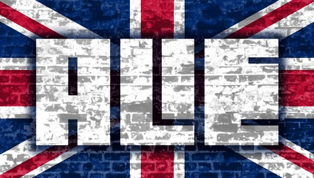 ale: Ale word lettering. Brick wall textured. Britain national flag Stock Photo