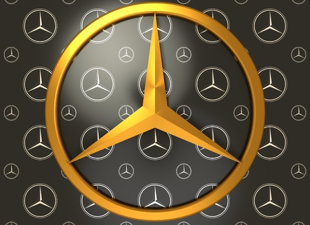 daimler: Circa, circa - June 7, 2016: Mercedes Benz emblem on dark grey background. Mercedes Benz is a German automobile manufacturer. 3D rendering