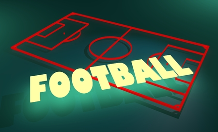 text 3d: football field simple model and neon shine text. 3D rendering