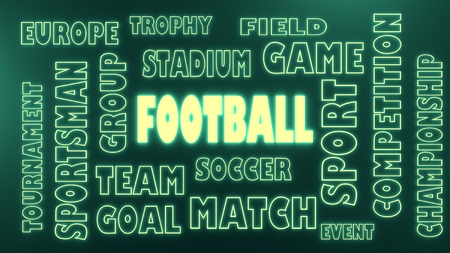 tags cloud: Football relative noen shine tags cloud. 3D rendering Stock Photo