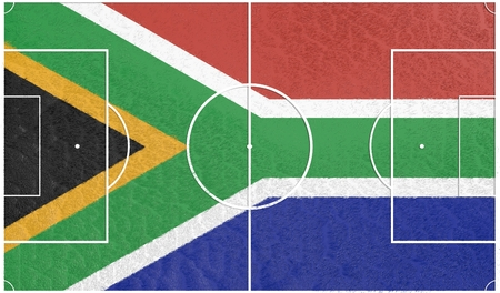 south africa flag: South Africa flag textured football field. Soccer relative theme. 3D rendering