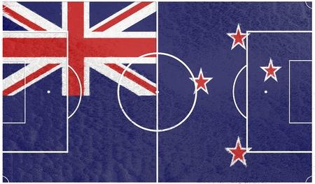 new zealand flag: New Zealand flag textured football field. Soccer relative theme. 3D rendering Stock Photo