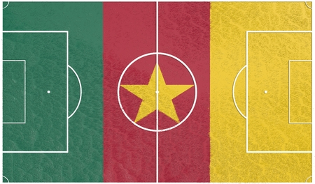 relative: Cameroon flag textured football field. Soccer relative theme. 3D rendering