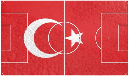 soccer field: Turkey flag textured football field. Soccer relative theme. 3D rendering