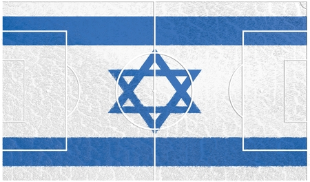 relative: Israel flag textured football field. Soccer relative theme. 3D rendering Stock Photo