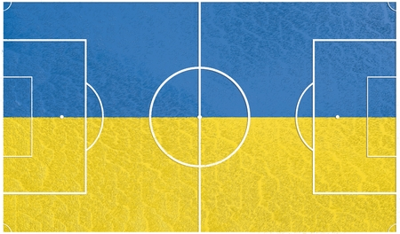soccer field: Ukraine flag textured football field. Soccer relative theme. 3D rendering