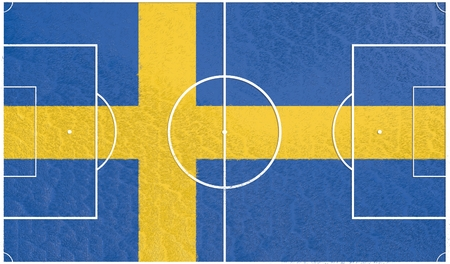 relative: Sweden flag textured football field. Soccer relative theme. 3D rendering