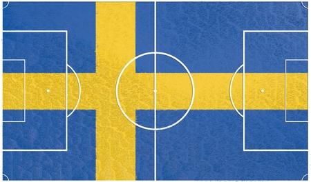 sweden flag: Sweden flag textured football field. Soccer relative theme. 3D rendering