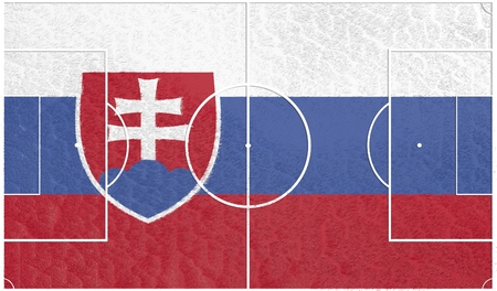 slovakia flag: Slovakia flag textured football field. Soccer relative theme. 3D rendering
