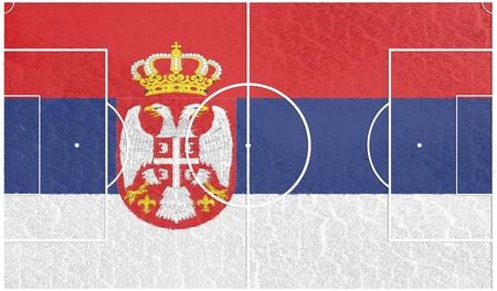 soccer field: Serbia flag textured football field. Soccer relative theme. 3D rendering