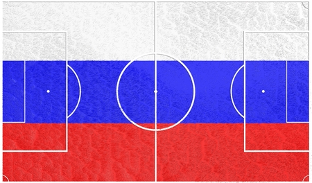 relative: Russia flag textured football field. Soccer relative theme. 3D rendering