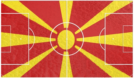 relative: Macedonia flag textured football field. Soccer relative theme. 3D rendering