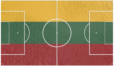 relative: Lithuania flag textured football field. Soccer relative theme. 3D rendering