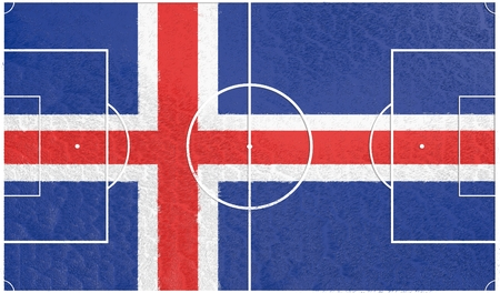 relative: Iceland flag textured football field. Soccer relative theme. 3D rendering