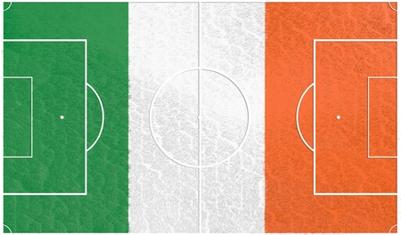 relative: Ireland flag textured football field. Soccer relative theme. 3D rendering