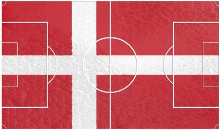 denmark flag: Denmark flag textured football field. Soccer relative theme. 3D rendering