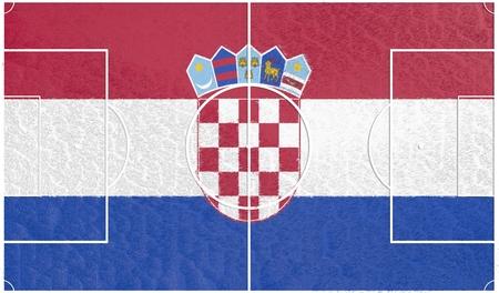 soccer field: Croatia flag textured football field. Soccer relative theme. 3D rendering Stock Photo