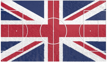 great britain flag: Great Britain flag textured football field. Soccer relative theme. 3D rendering Stock Photo