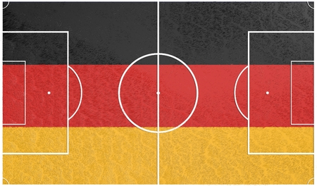 relative: Germany flag textured football field. Soccer relative theme. 3D rendering
