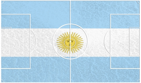 relative: Argentina flag textured football field. Soccer relative theme. 3D rendering