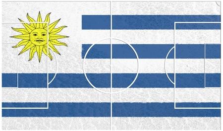 bandera de uruguay: bandera de Uruguay campo de fútbol con textura. Fútbol tema relativo. representación 3D Foto de archivo
