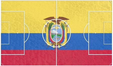 relative: Ecuador flag textured football field. Soccer relative theme. 3D rendering