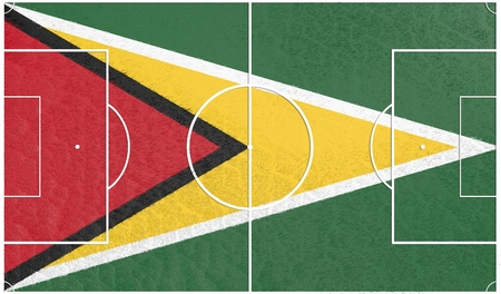 relative: Guyana flag textured football field. Soccer relative theme. 3D rendering