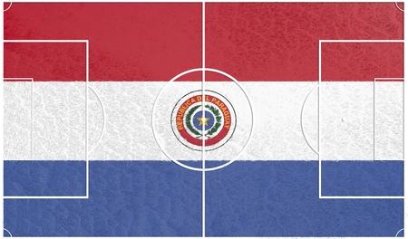 bandera de paraguay: bandera de Paraguay campo de f�tbol con textura. F�tbol tema relativo. representaci�n 3D Foto de archivo