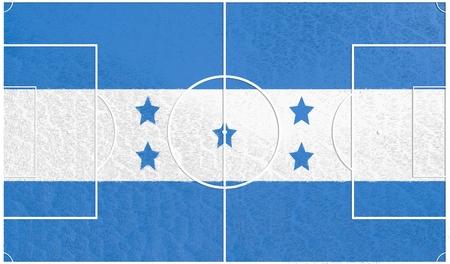 bandera honduras: Honduras flag textured football field. Soccer relative theme. 3D rendering