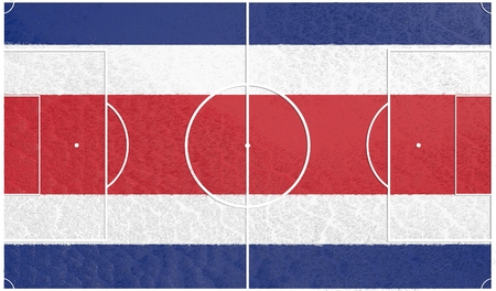 bandera de costa rica: Costa Rica flag textured football field. Soccer relative theme. 3D rendering
