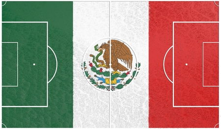 relative: Mexico flag textured football field. Soccer relative theme. 3D rendering Stock Photo