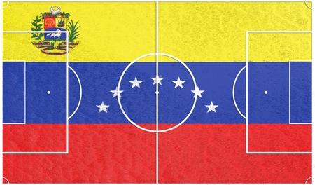 bandera de venezuela: bandera de Venezuela campo de fútbol con textura. Fútbol tema relativo. representación 3D