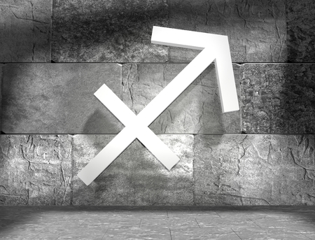 astrologer: Archer astrology sign. Empty concrete interior. 3D rendering Stock Photo