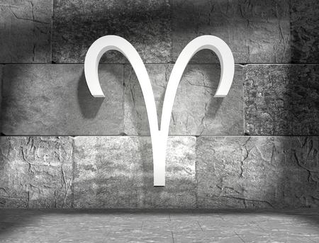 astrologer: The ram astrology sign. Empty concrete interior. 3D rendering
