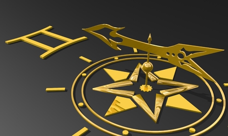 future twin: The twins astrology sign. Golden compass arrow point to astrological symbol. 3D rendering