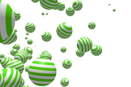 levitation: Large group of orbs or spheres levitation in empty space. lollipop stripes texture. 3D rendering Stock Photo